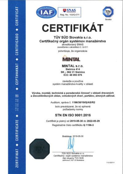 Certifikat Tuv 2019Sk
