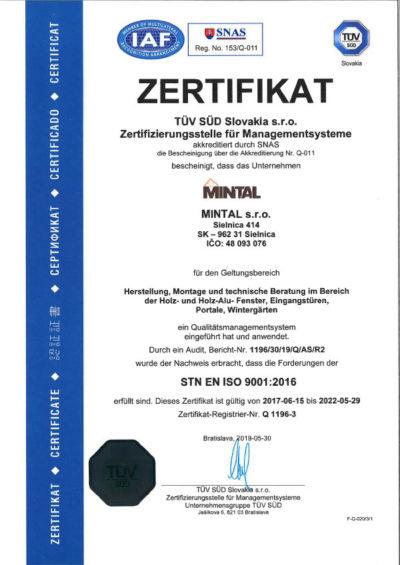Zertifikat Tuv 2019De